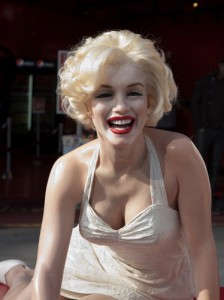 Hollywood, CA - January 19: A lifesize wax figure of Marilyn Monroe is displayed on the sidewalk of Hollywood Boulevard outside of Madame Tussauds Wax Museum in