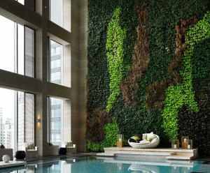 Green wall at Pool.
