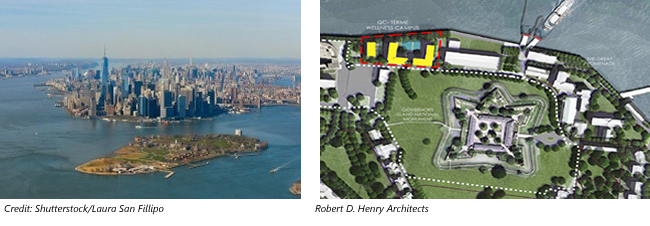 Images of Governors Island & Manhattan and Layout of Island showing QC Terme Wellness Campus