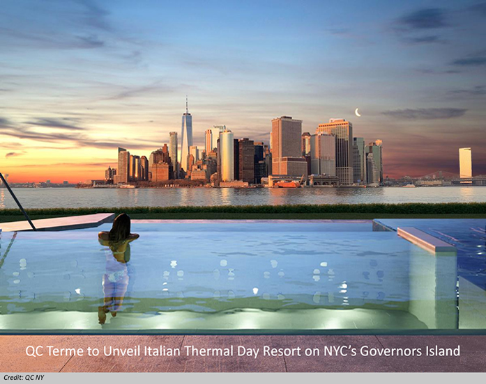 Image of Manhattan views from QC Terme's Thermal Resort on NYC's Governors Island
